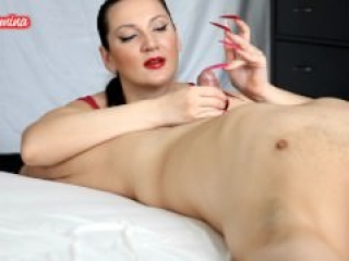 Red and Pink Stiletto Nails Handjob CBT Insertion by KinkyDomina