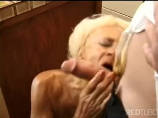 Threesome granny double penetration